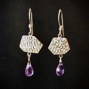 Stamped Earrings with Amethyst