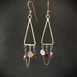 Dream Catcher Charm Earrings with Garnets, Ruby and Pearls