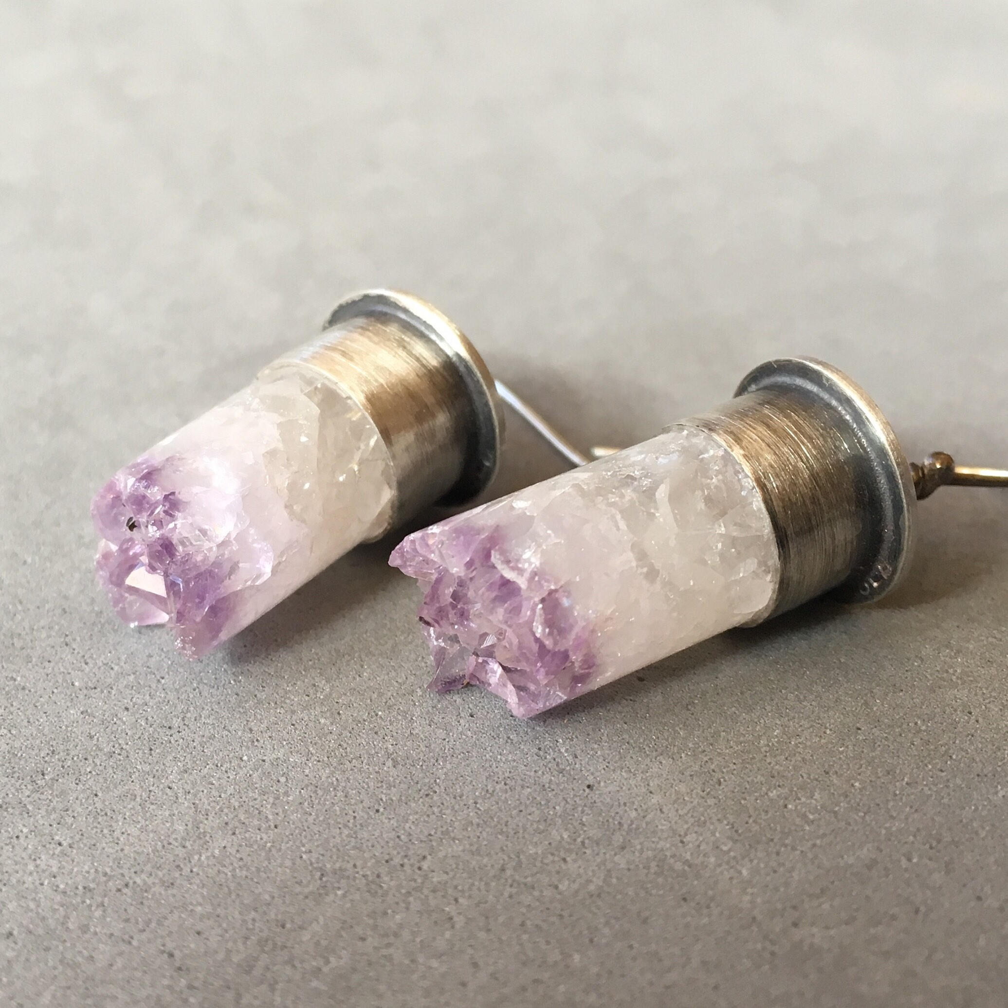 Amethyst Bullet Earrings
