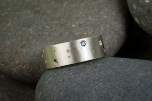 Gemstone Moon Band Ring