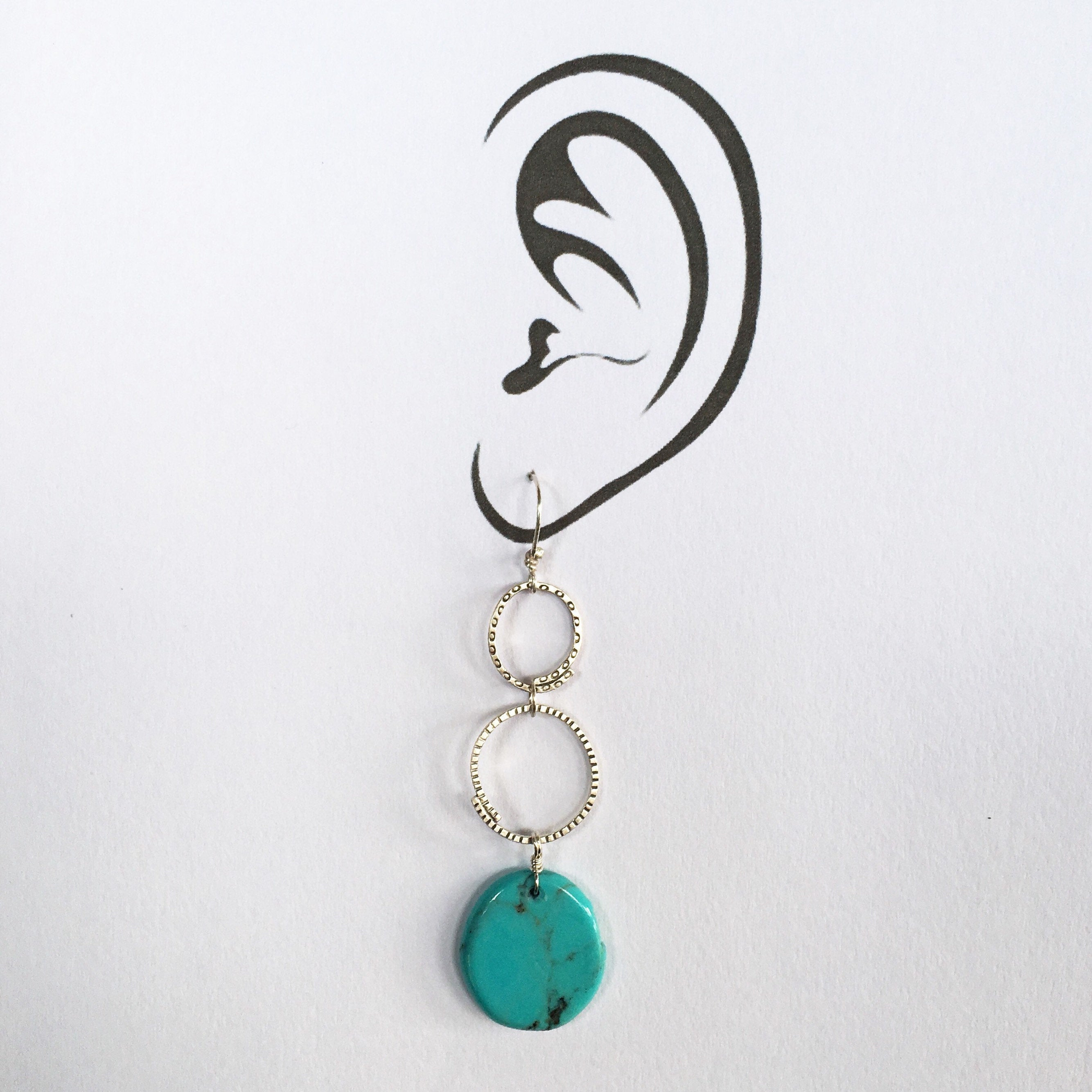 Turquoise Stamped Earrings