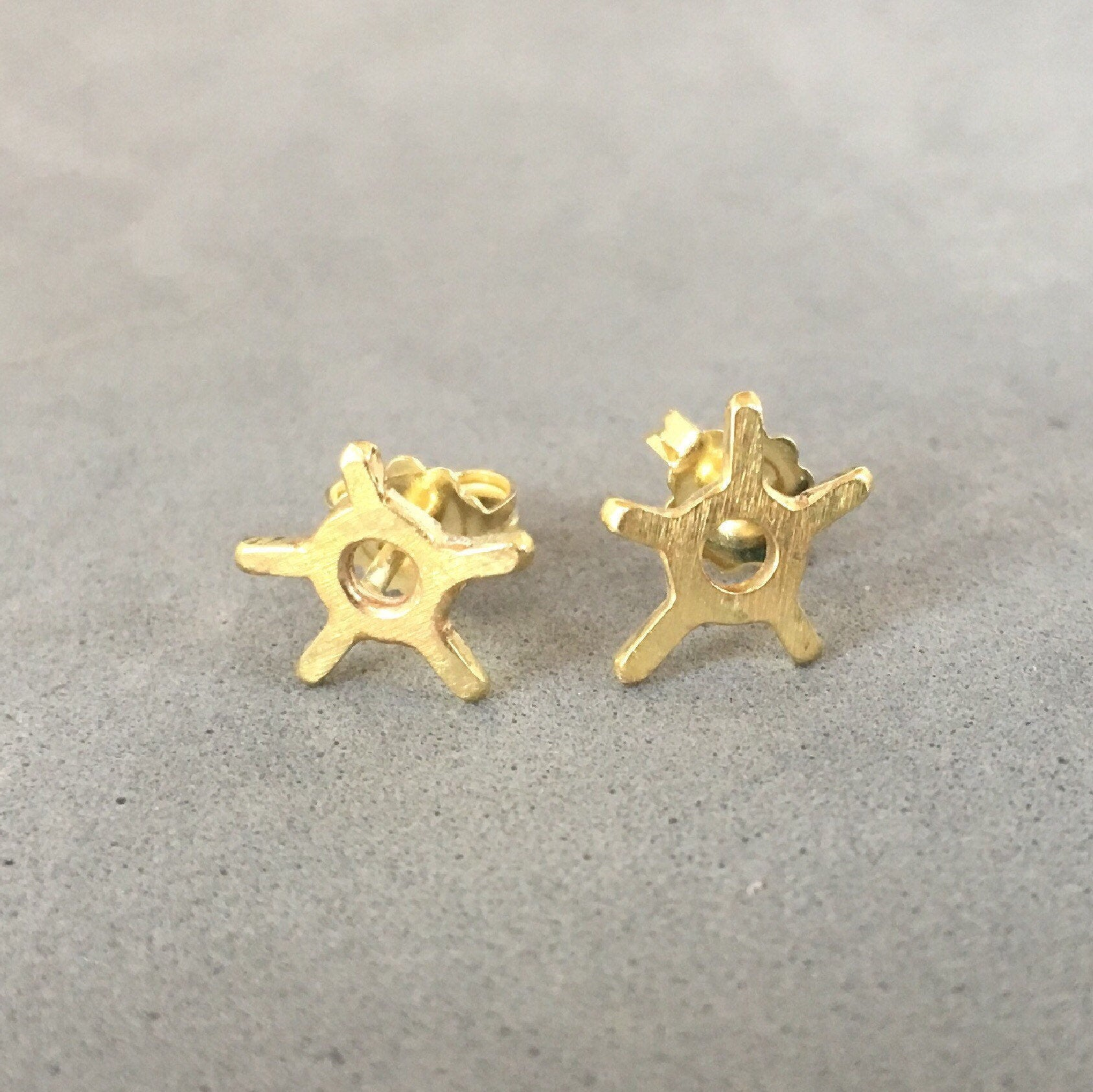 18K Gold Atomic Stud Earrings