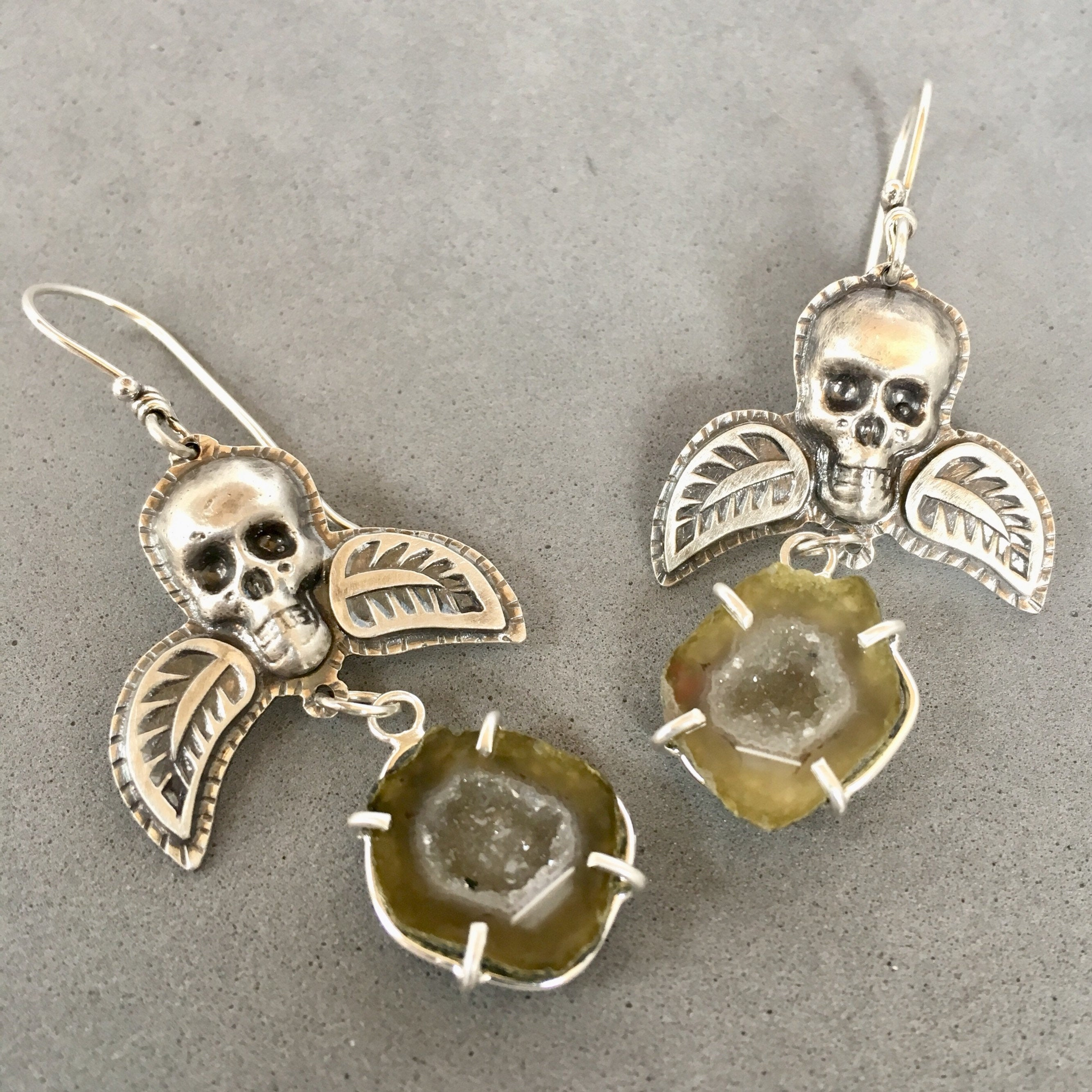 Winged Skulls with Mini Geodes