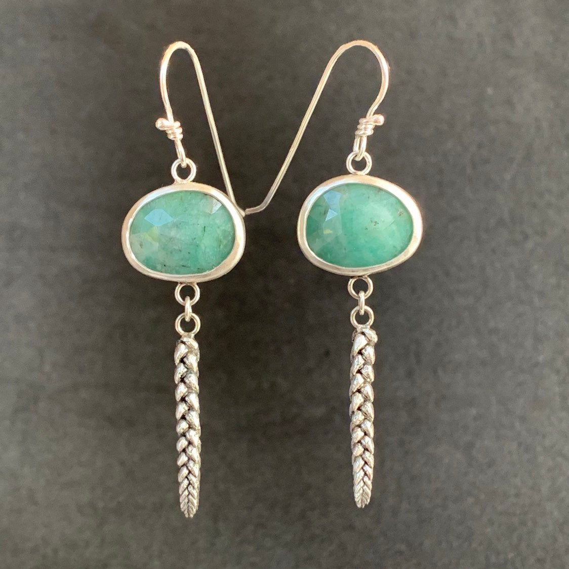 Emerald and Succulent Earrings