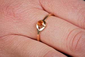 14K Gold Orange Garnet Ring