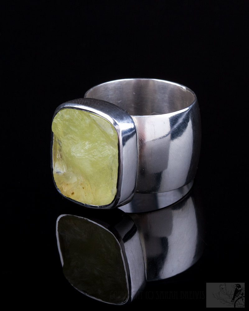 Rough Top Prehnite Wide Band Ring