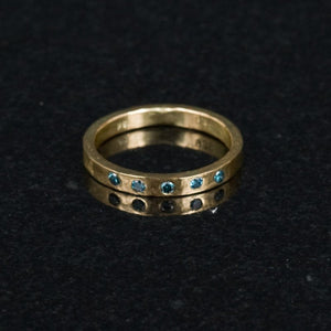18K Gold and Blue Diamond Ring