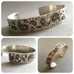 Load image into Gallery viewer, Paisley Stamped Cuff Bracelet