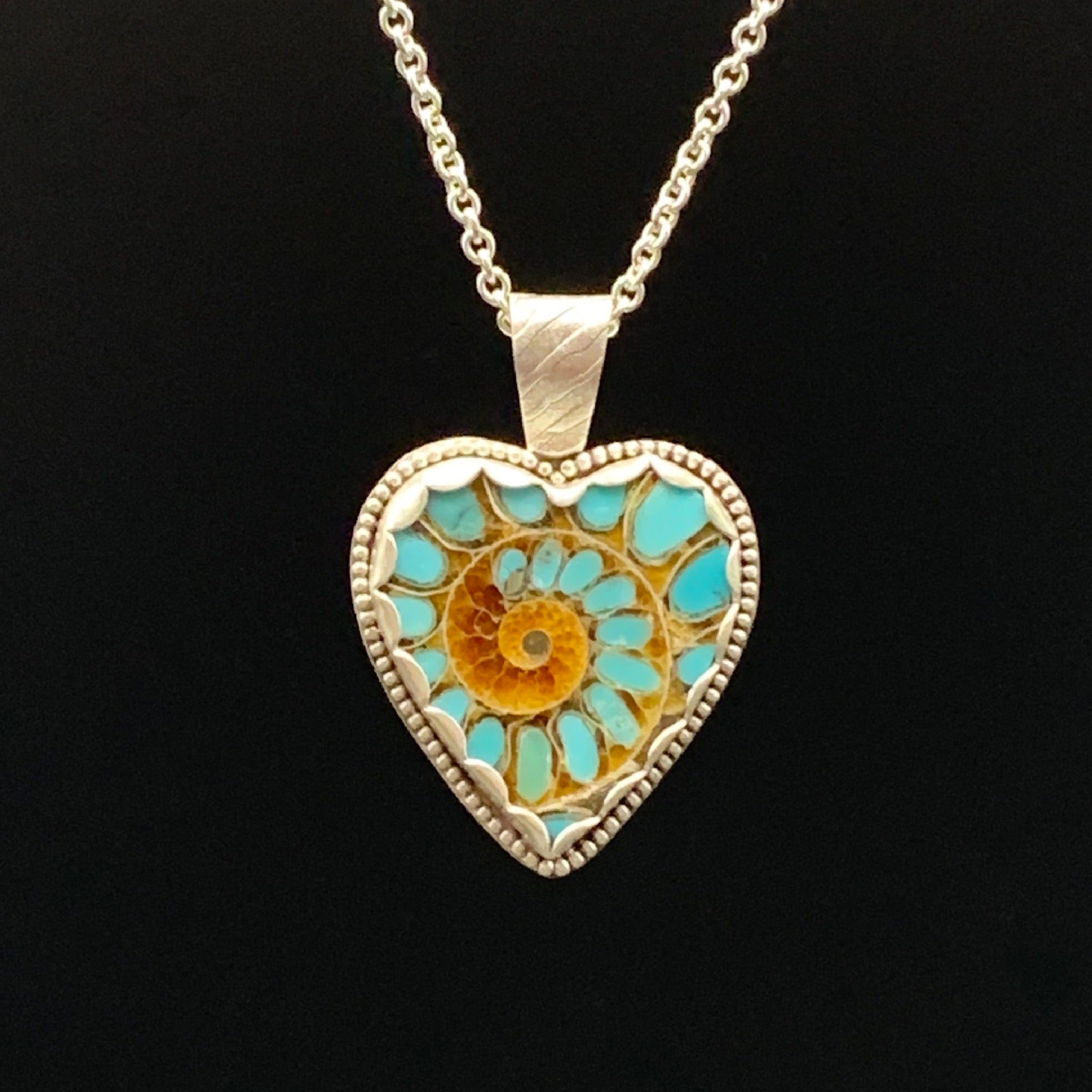 Turquoise in Ammonite Heart
