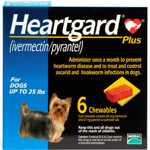 Heartgard Plus Chewables for Dogs, up to 25 lbs (Blue Box, 6's)