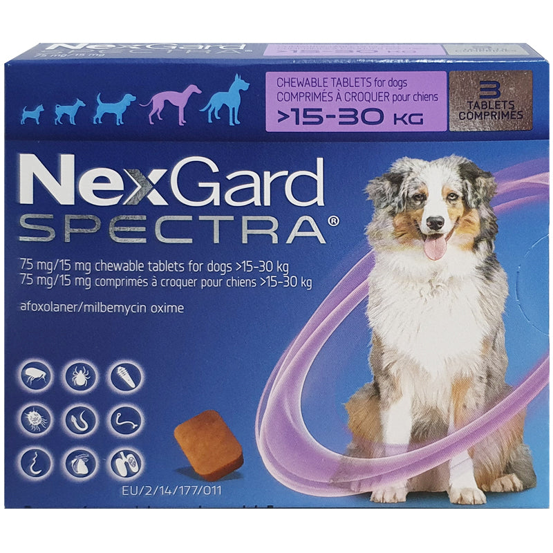 NexGard SPECTRA® Large Dog,15-30kg (Purple Box, 3's)
