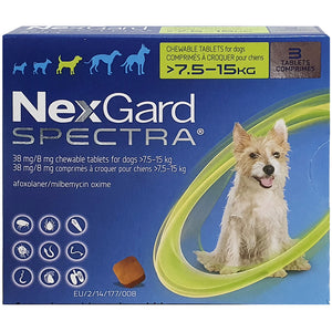 NexGard SPECTRA® Medium Dog, 7.5-15kg (Green Box, 3's)
