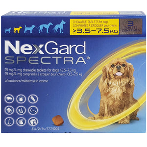 NexGard SPECTRA® Small Dog, 3.5-7.5kg (Yellow Box, 3's)