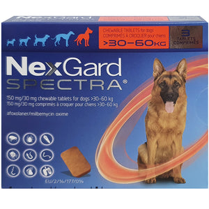 NexGard SPECTRA® Extra Large Dog, 30-60kg (Red Box, 3's)