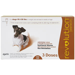 REVOLUTION® For Dogs, 10.1-20 lbs (Brown Box, 3's)