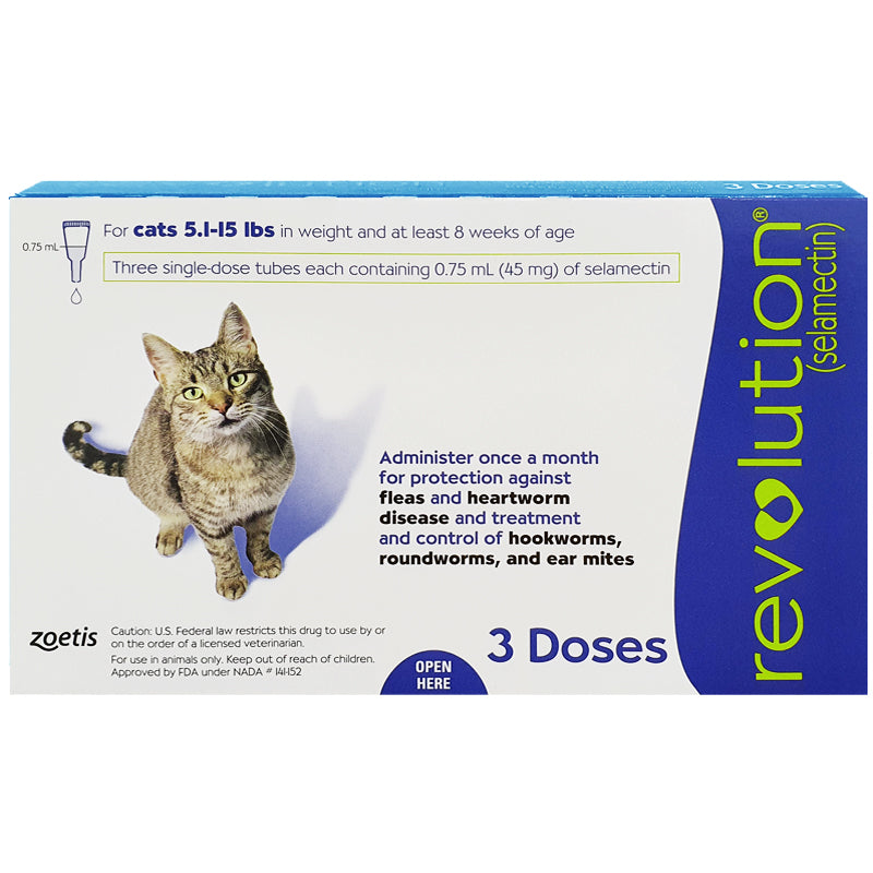 REVOLUTION® For Cats, 5.1-15 lbs (Blue Box, 3's)