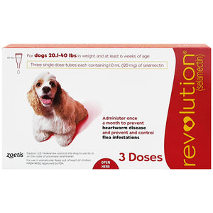 REVOLUTION® For Dogs, 20.1-40 lbs (Red Box, 3's)