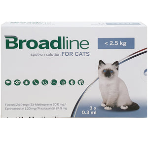 Broadline® Spot-On Solution For Cats, <2.5kg (0.3ml, 3's)