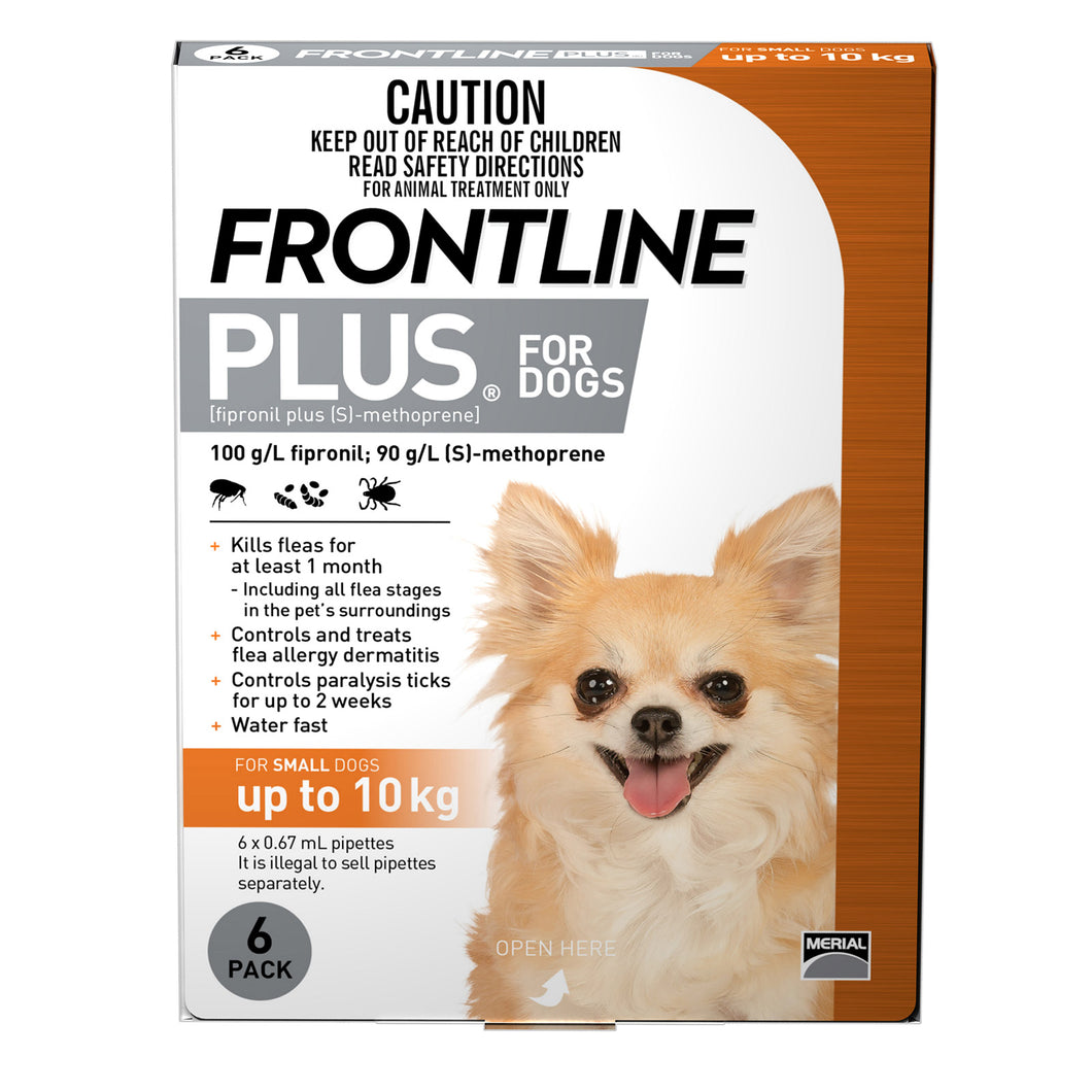 Frontline® Plus Spot-On For Small Dogs (2.2-10kg) 6's