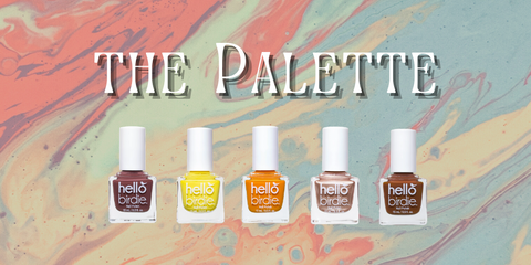 """A set of square glass polish bottles with round white lids, from left to right: gray brown, yellow, orange, bronze, and rust. Set against a desaturated water marbled background with thin, vintage typeface reading """"the palette"""""""