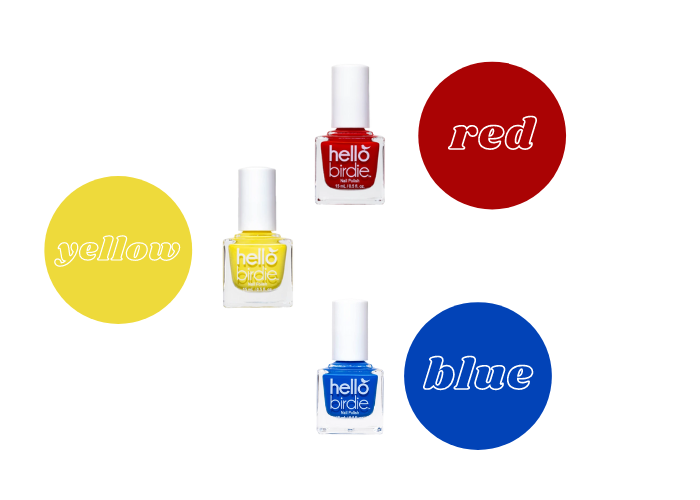 Primary color wheel using Hello Birdie classic polishes in Talonted, red, Early Bird, yellow, and Mile High blue
