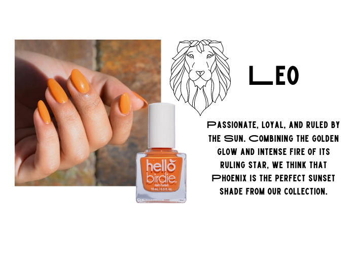 Hand modeling Hello Birdie classic pastel apricot polish in Phoenix. Paired with Leo zodiac.Passionate, loyal, and ruled by the Sun. Combining the golden glow and intense fire of its ruling star, we think that Phoenix is the perfect sunset shade from our collection.