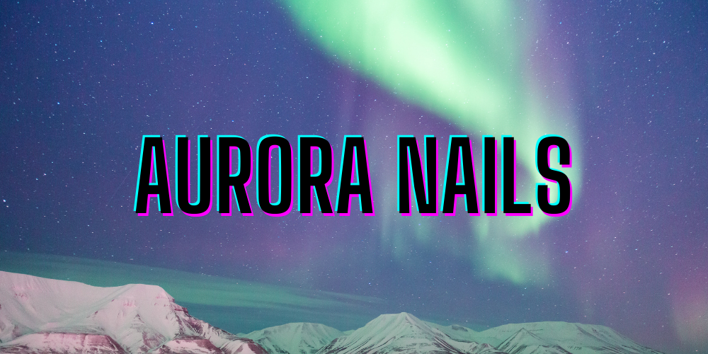 Night sky of aurora borealis swirled with neon and pastel greens, blues, violets and pinks, text overlay in black with pink and blue glitch decoration