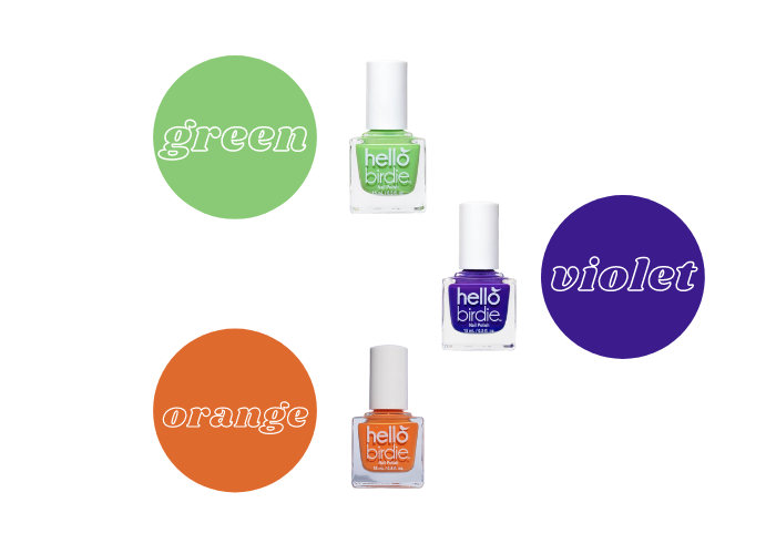 Secondary color wheel using Hello Birdie classic polishes in Kiwi, green, When Doves Cry, purple, and Phoenix, pastel orange.