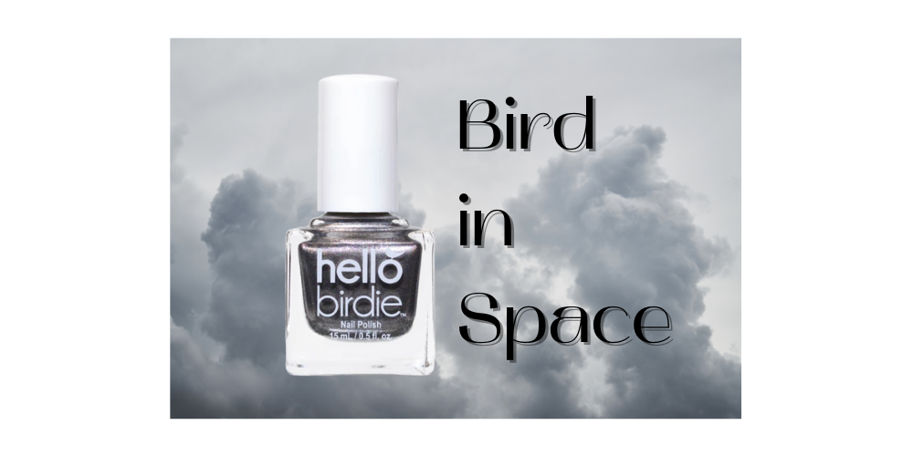 """Hello Birdie classic silver polish on a cloudy gray sky background with art-nouveau text reading """"Bird in Space"""""""