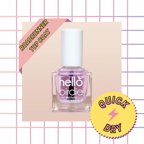 """A square glass bottle with a white lid, filled with a light violet clear polish top coat, set against a square grid peach gradient background with a banner in the upper left reading """"Roadrunner top coat"""" and a yellow and violet starburst sticker in the lower right corner with offset outlined text circling a pink lightning bolt """"quick dry"""""""