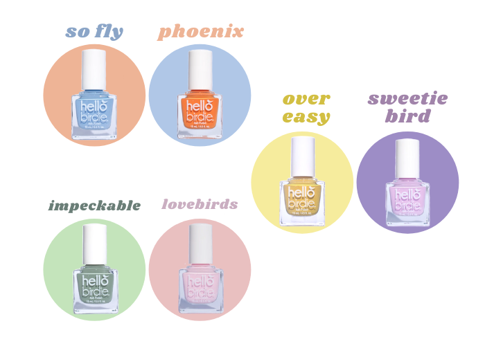 Hello Birdie pastel toned complementary color pairs in So Fly and Phoenix for blue and orange, Over Easy and Sweetie Bird for yellow and purple, and Impeckable and Lovebirds for red and green.