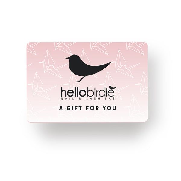 Hello Birdie Gift Card in an ombre pink to white with line origami crane pattern and Hello Birdie logo in black on top.