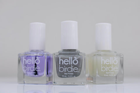 Hello Birdie classic polish top coats in glossy, holographic, and matte