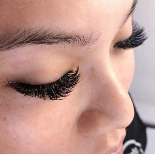 Hello Birdie Lash Extensions in volume style on model.