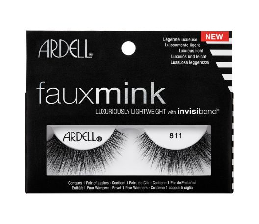 front of black and white box of Ardell Fauxmink false lashes 811