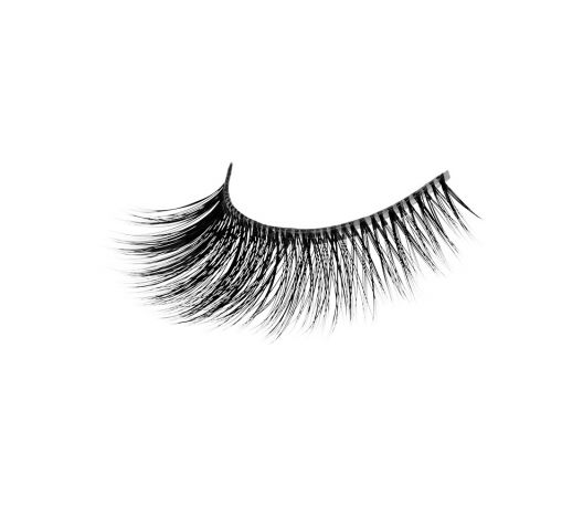 One right eye false lash strip with Invisiband and black fauxmink lashes.