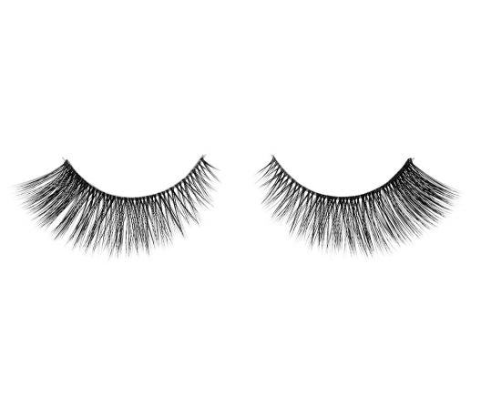 Pair of Ardell Fauxmink 811 false eyelashes in black with invisiband and lash longer on the outer corners