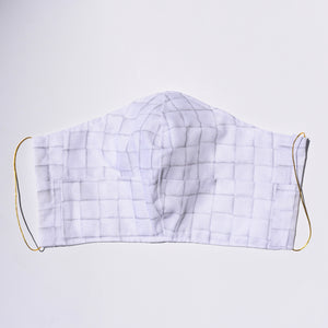 White tile patterned cotton face mask handmade by Crooked Cat Manicurist duo from Hello Birdie
