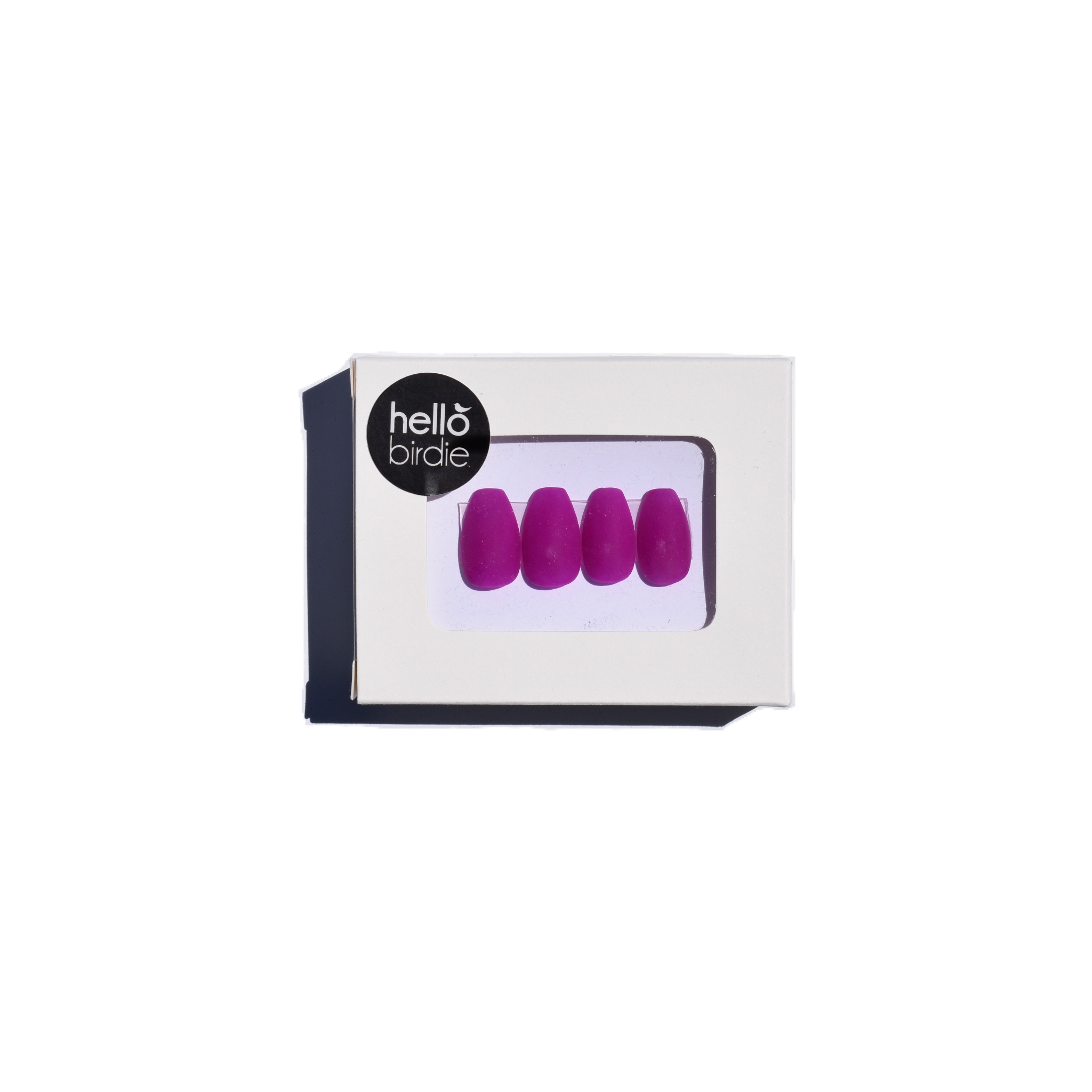 Four press-ons packaged in a rectangular box with a Hello Birdie logo on the top left corner.  A window with rounded corners allows you to view the fuschia matte coffin shaped nails.