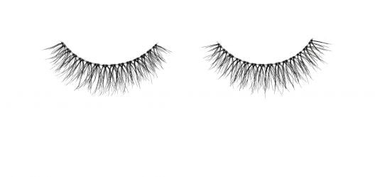 Pair of Naked Lashes 420 with Invisiband and in black with longer lashes in the center.