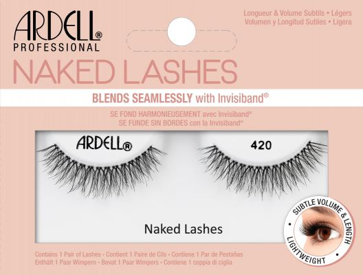 Front of pale pink box of Ardell Naked Lashes 420