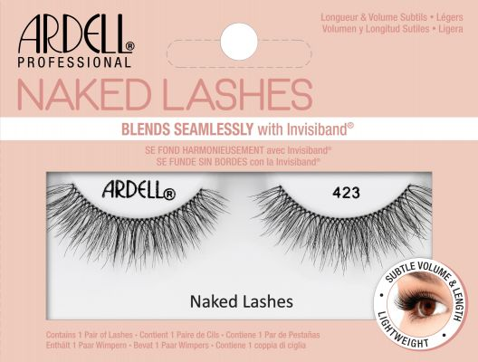 Front of pink box of Ardell Naked Lashes 423.