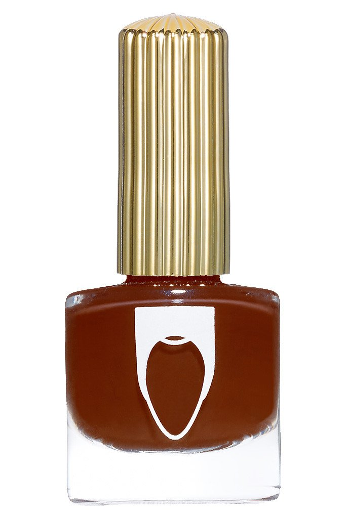Bottle of Floss Gloss Nail Polish Blood, Suede and Tears, a blood orange brown color