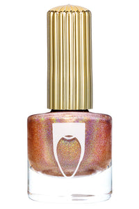 Bottle of Floss Gloss Nail Polish in Disco Dust a rose gold holographic color.