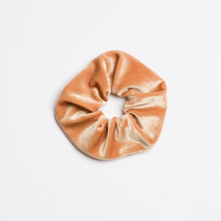 Honey Bee Scrunchie which is velvet and honey colored from I'm With the Band laying flat
