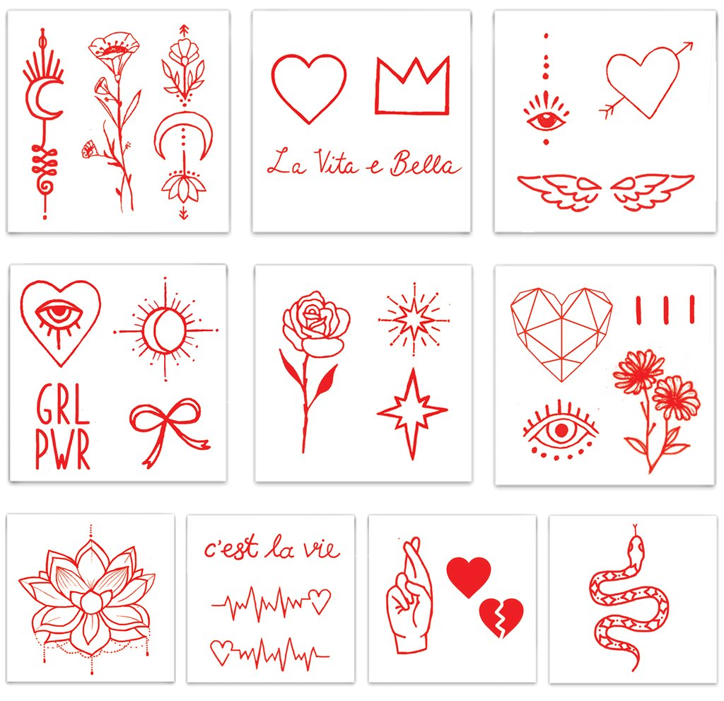 Designs including red line flowers hearts and other symbols from the Red Ink Pack Temporary Tattoos from Inked by Dani