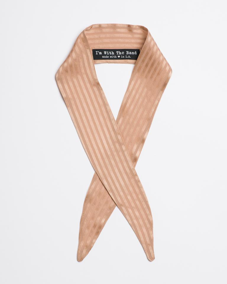 Tan striped silk charmeuse The June Scarf Tie from I'm With the Band laying flat