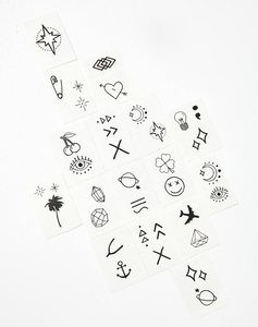 Designs including black line symbols in Lil' Tats Pack Temporary Tattoos from Inked by Dani