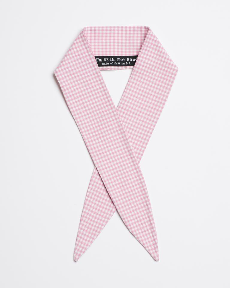 Loretta Rose Scarf Tie in rose and white cotton gingham from I'm With the Band laying flat
