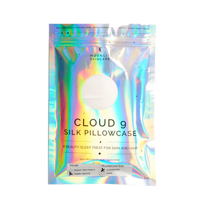 Front of Cloud 9 Silk pillowcase package which is a holographic ziploc type package